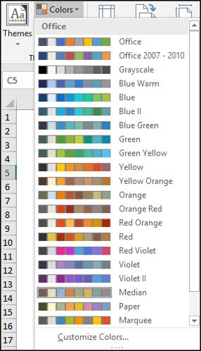La sélection des couleurs