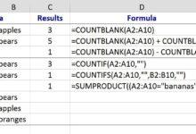 Compter les cellules vides ou vides dans Excel