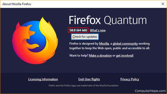 Fenêtre qui affiche des détails sur Firefox.
