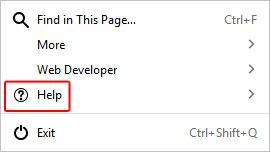 Bouton pour ouvrir le menu d'aide dans Firefox.