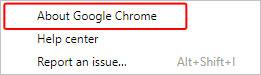 Option de menu pour voir la version de Chrome qui est actuellement installée.