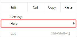 Bouton du menu Aide dans Chrome.