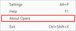 Élément de menu qui affiche des informations sur la version d'Opéra.