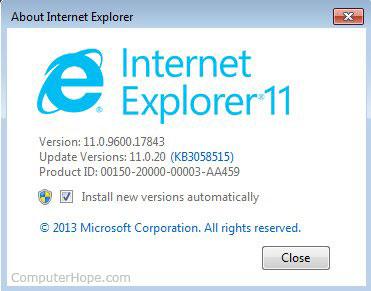 À propos de la fenêtre d'Internet Explorer