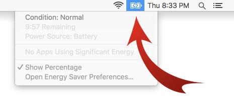 Vérification de l'état de la batterie d'un ordinateur portable sous MacOS