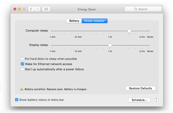 Boîte de dialogue des préférences d'économie d'énergie macOS