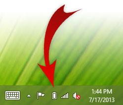 Icône du compteur de piles de Windows 8