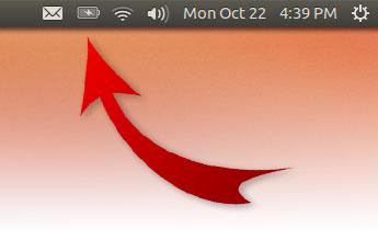Emplacement de l'icône de la batterie dans l'interface graphique d'Ubuntu