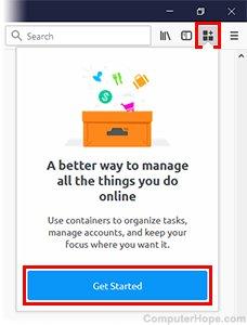 Cliquez sur l'icône Conteneurs multi-comptes, puis cliquez sur Démarrer.