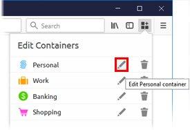 Cliquez sur l'icône représentant un crayon à côté du nom du conteneur.