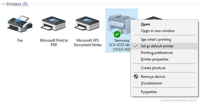 Définir comme imprimante par défaut