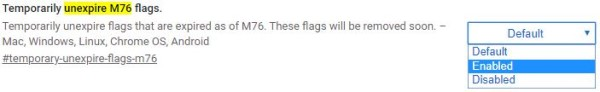 Activer le réglage des drapeaux M76 temporairement non expirés dans le navigateur Chrome