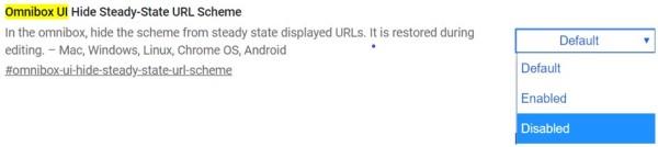Masquer l'option de réglage du schéma URL dans le navigateur Chrome