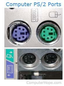 Ports PS/2 vert et violet pour le clavier et la souris.