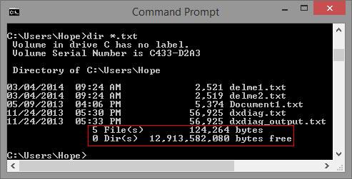 Taille des fichiers dans la ligne de commande