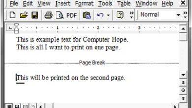 Saut de page dans Microsoft Word.