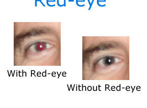Des yeux avec des yeux rouges