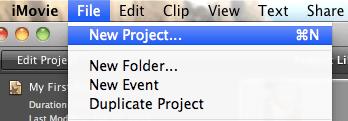 Démarrer un nouveau projet iMovie