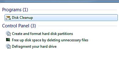 Espace libre sur le disque dur avec nettoyage du disque