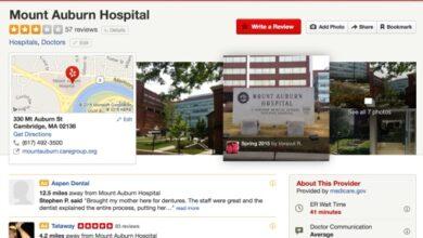 Page de critique de Yelp pour l'hôpital Mount Auburn