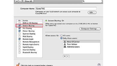 Partage d'écran sur Mac